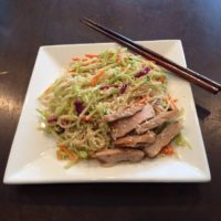 Pork loin, Chinese noodle and broccoli with ginger dressing