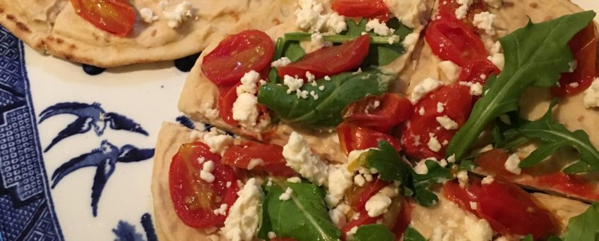 hummus roasted grape tomato flatbread