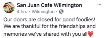 san juan cafe closed