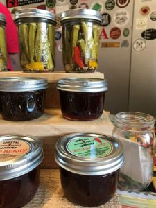 Pickled okra and jams from Ghostal Carolina Pepper People - Port City Sweetheart Market