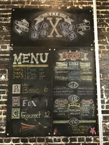 menu The Foxes Boxes